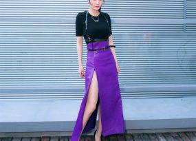Chân váy màu tím